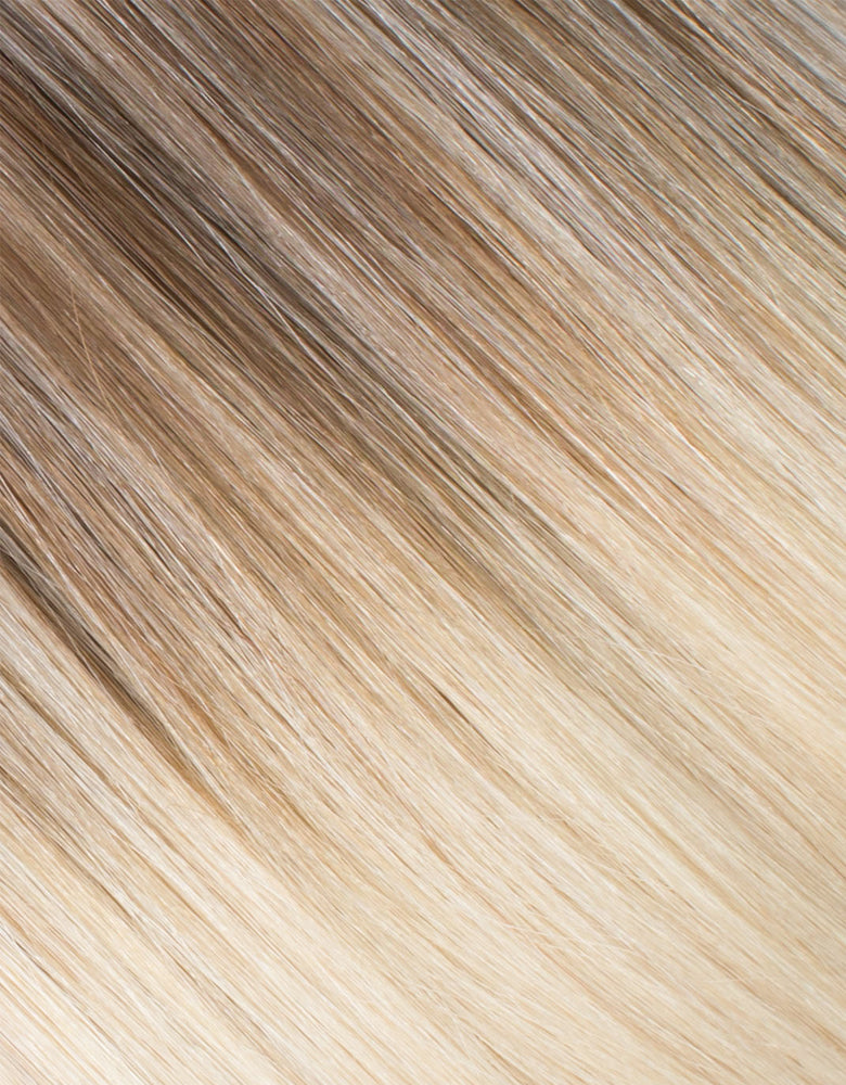 "BELLAMI Silk Seam 60g 24"" Volumizing Weft Rooted Walnut Brown/Ash Blonde  (3/60)"