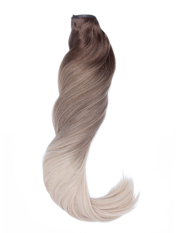 "BELLAMI Silk Seam 140g 16"" White Mocha Balayage Hair Extensions"