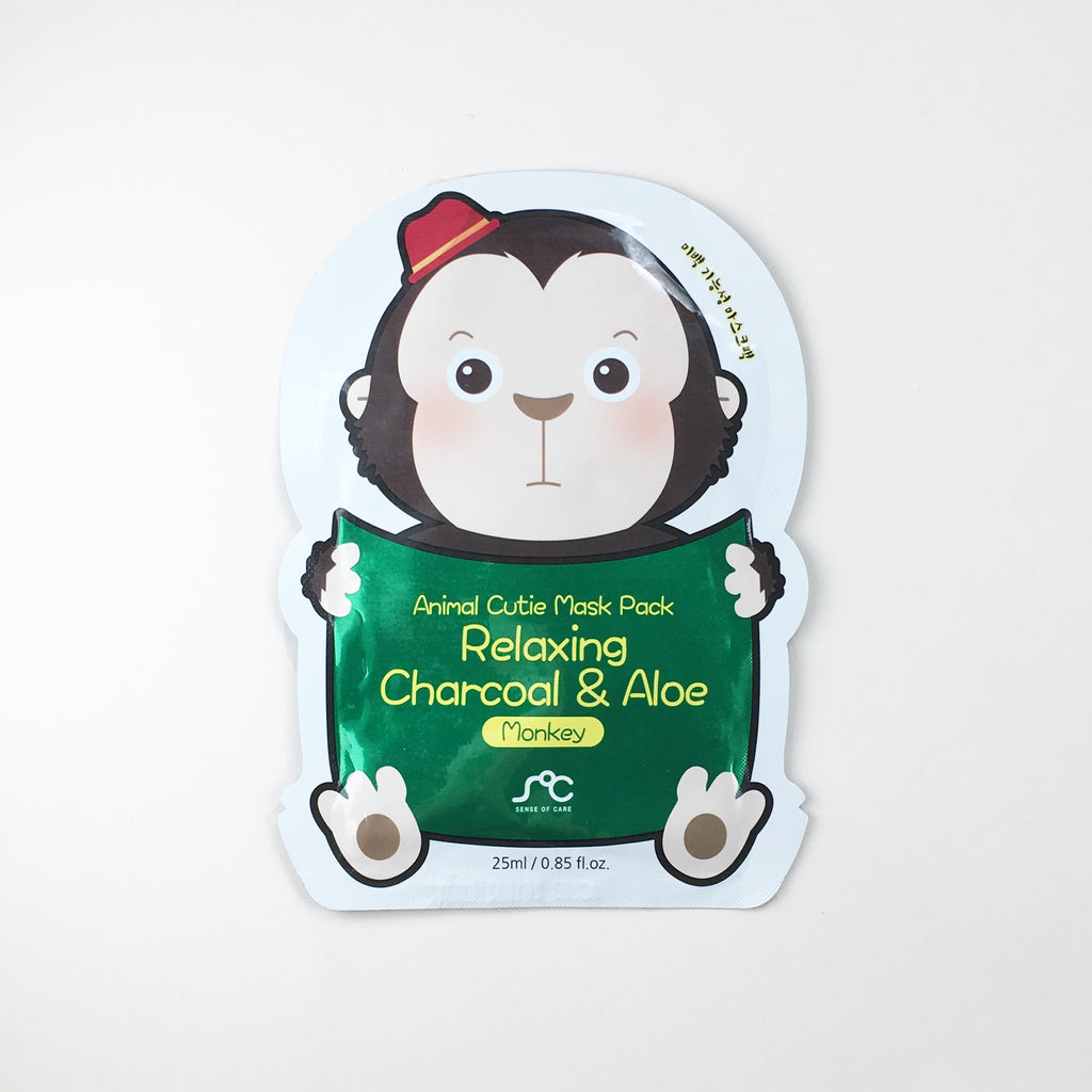 Animal Cutie Mask - Relaxing Charcoal & Aloe Monkey