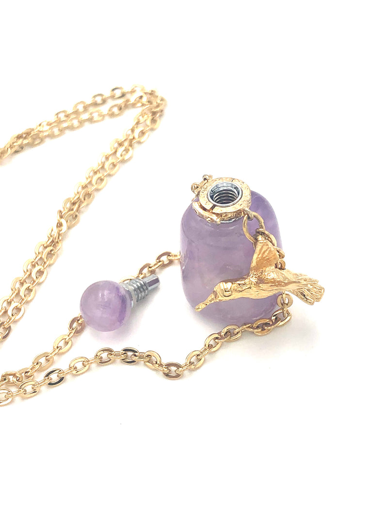 Amethyst Love Potion bottle Necklace