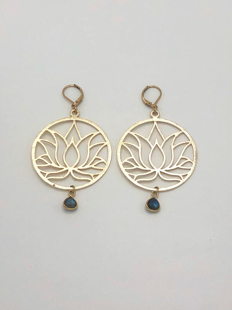 Labradorite Lotus Flower Earrings