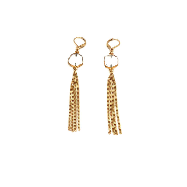 Quartz Crystal Fringe Earrings