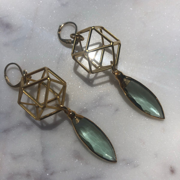 Hydro Quartz Crystal Geometry Earrings
