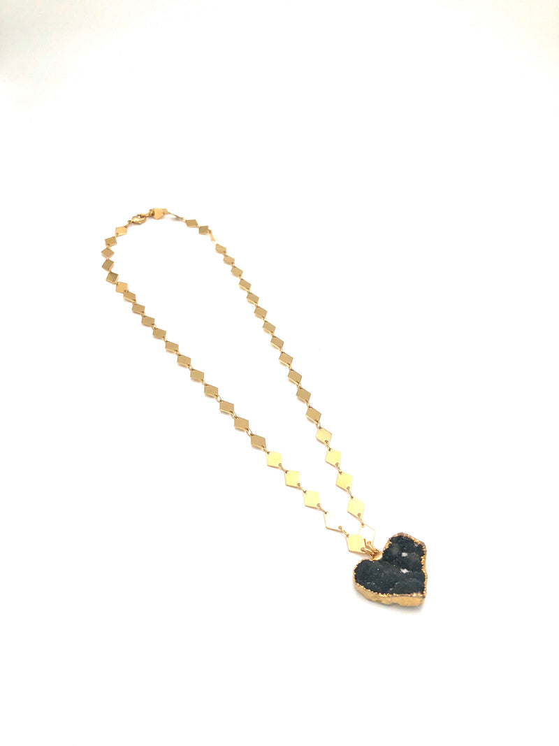 Dark Agate Druzy Heart Necklace