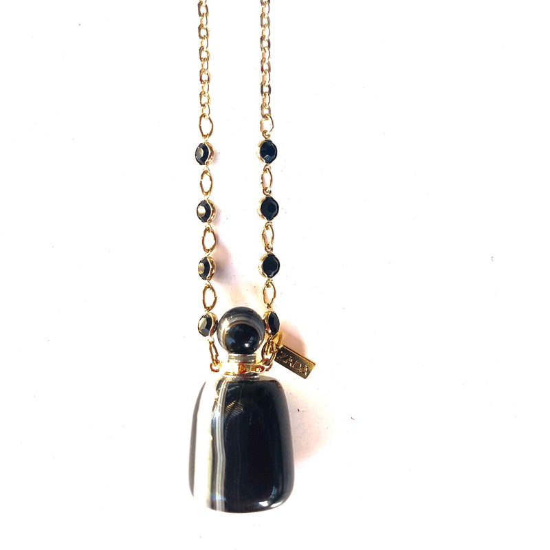 Black Banded Agate Love Potion Bottle Necklace