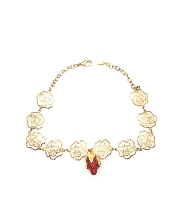 Rose Choker with Real Rose Dipped in Gold