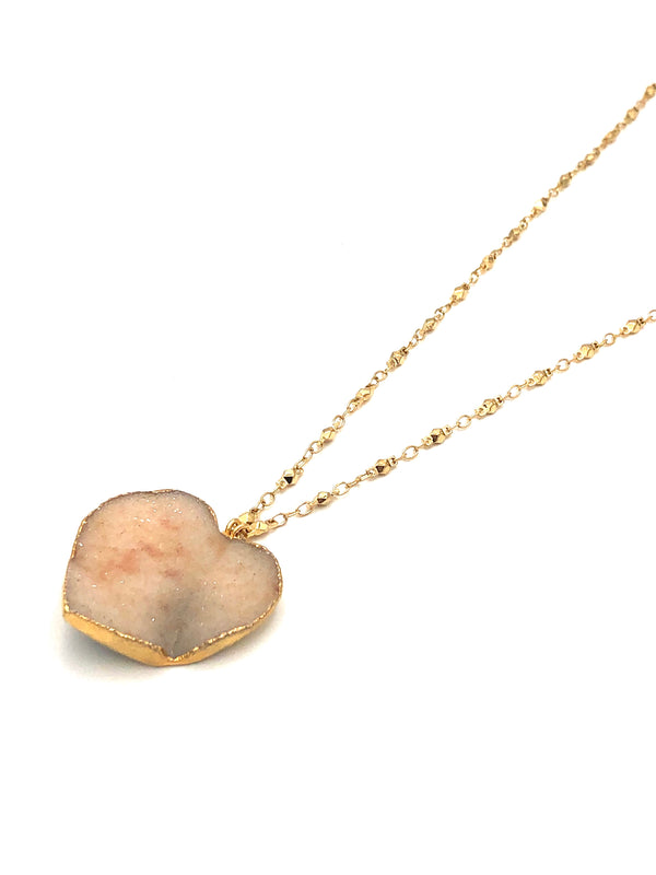 Agate Druzy Heart Necklace