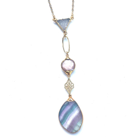 Fluorite and Agate Druzy Necklace