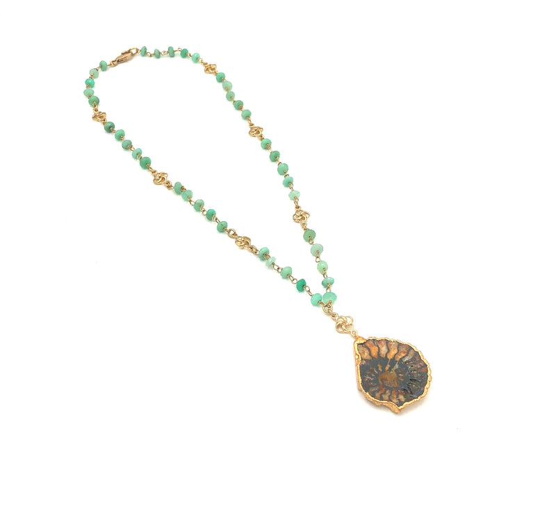 Ammonite & Chrysoprase Necklace