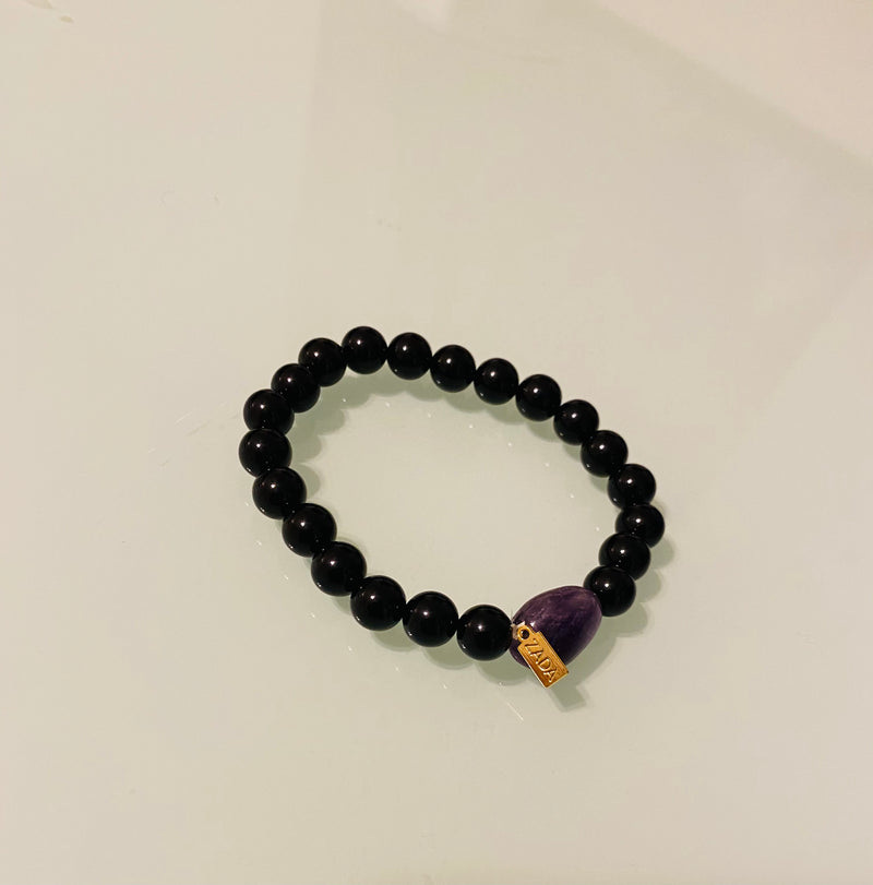 Custom order—4 amethyst and onyx bracelets