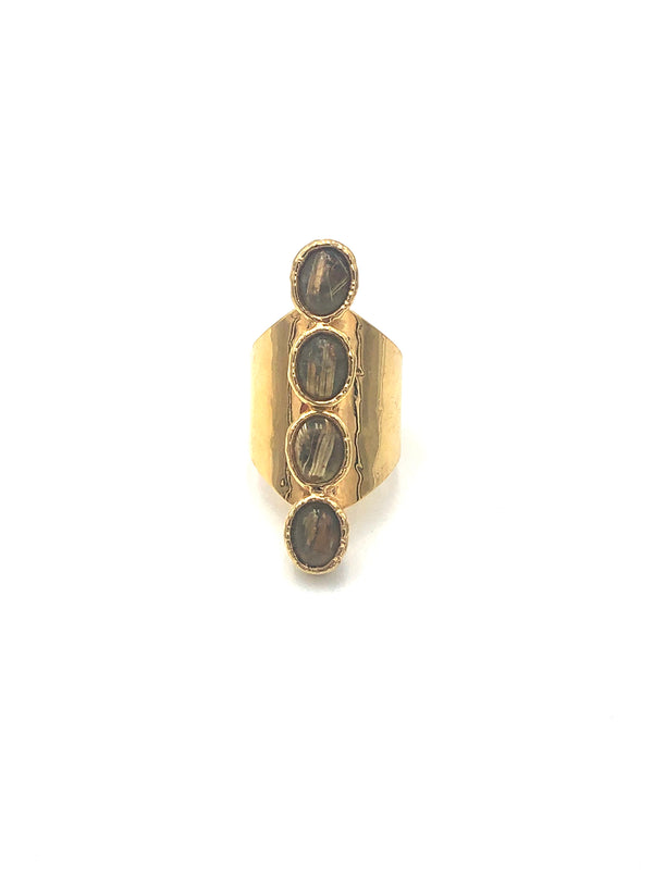 Gold Rutilated Quartz Ring