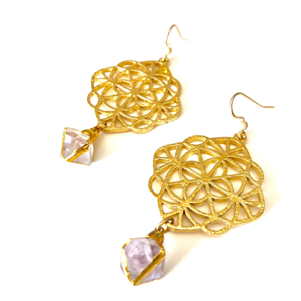 Fluorite Octahedron Earrings