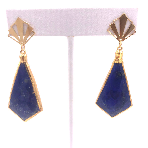 Blue Lapis Azuli Stud Earrings