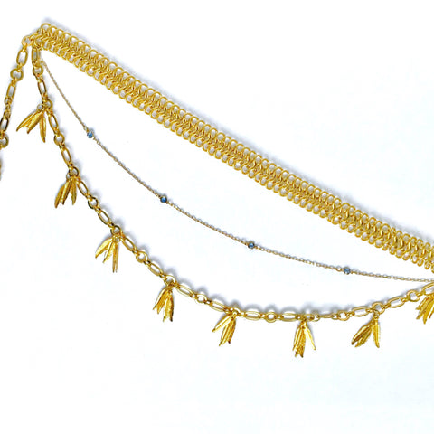 Three Tier Golden Feather Belt