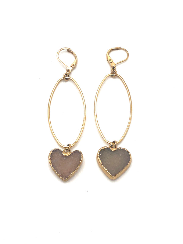 Agate Druzy Heart Earrings