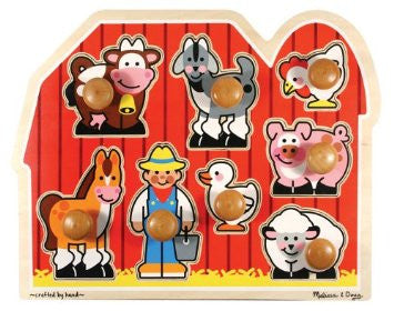 Farm Puzzle with Extra Large Wooden Knobs