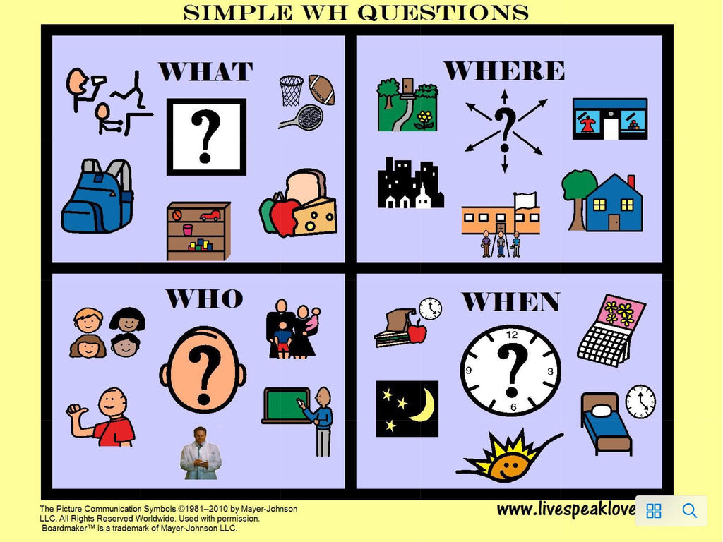 Simple Wh- Questions visual support