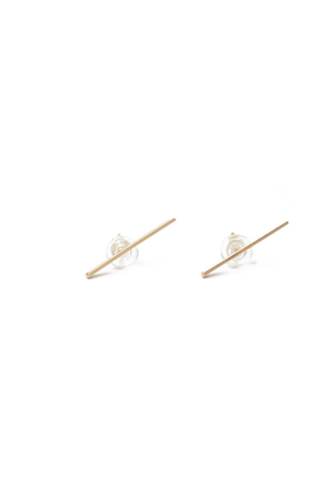 Long Gold Staple Earrings