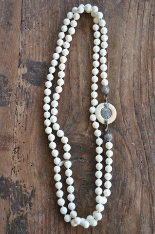 Bone and Diamond Disc Necklace