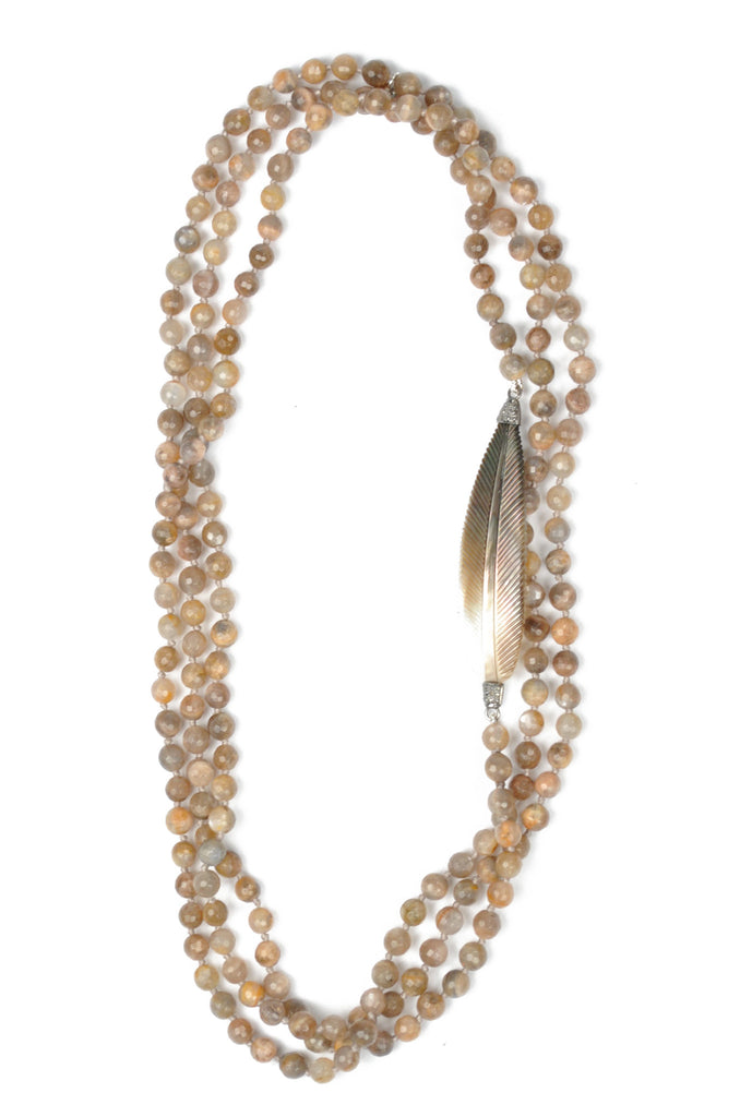 Golden Moonstone and Mother of Pearl Diamond Feather Necklace