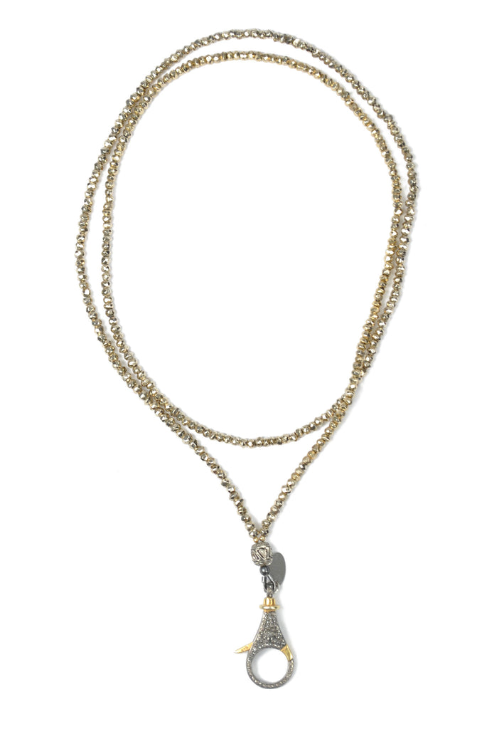Pyrite and Diamond Clasp Necklace
