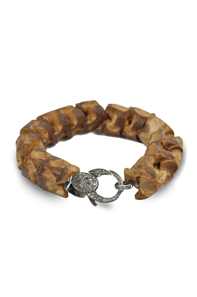Snake Vertebrae and Diamond Bracelet-Dark Brown