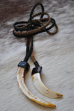 Braided Leather Tusk Necklace-Black