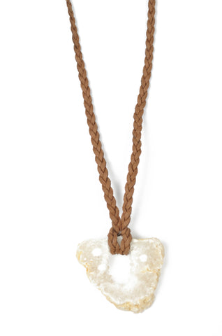 Quartz Geode and Tan Leather Necklace