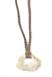 Quartz Geode Necklace on Taupe Leather