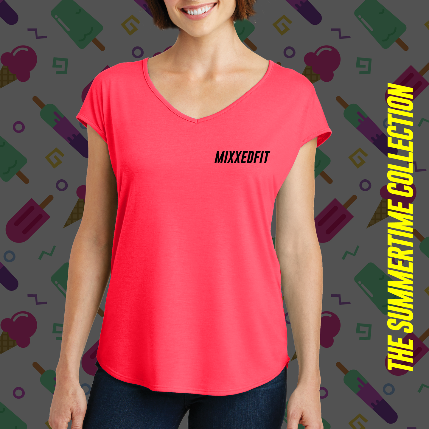 MIXXEDFIT® DRAPEY CROSS-BACK TEE | HOT CORAL