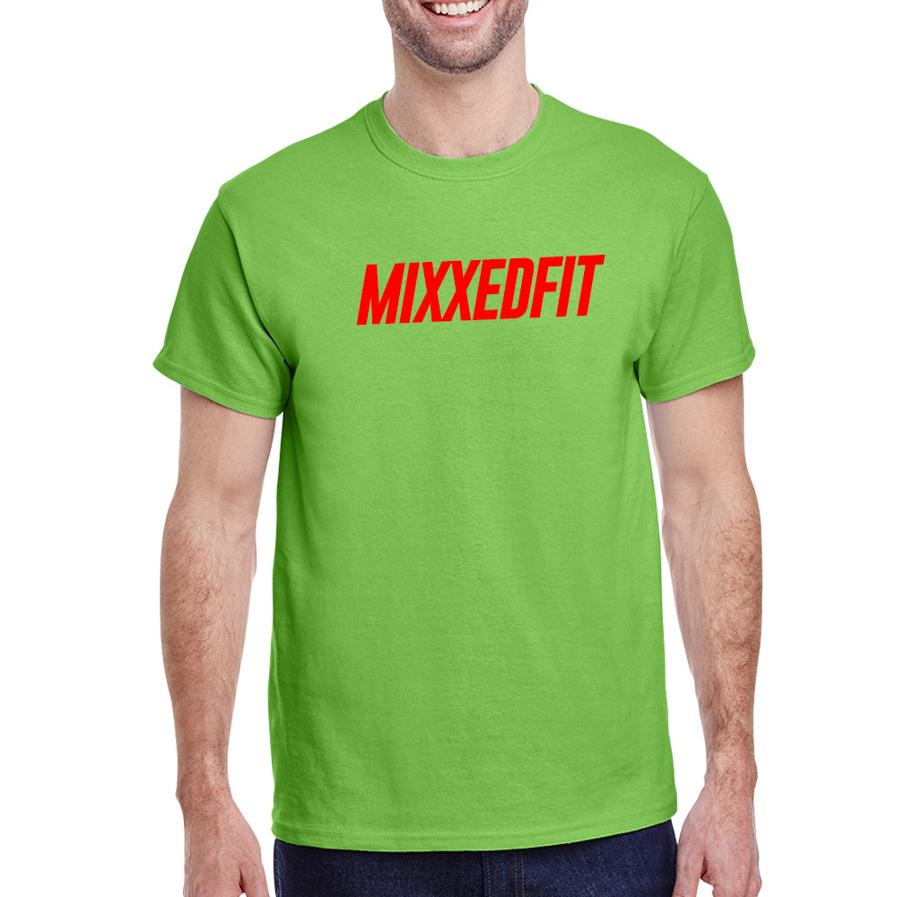 MIXXEDFIT® CLASSIC TEE | GREEN WITH RED