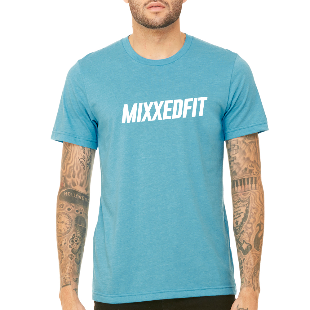 MIXXEDFIT® CLASSIC TEE | HEATHER AQUA