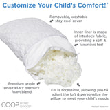 Adjustable Shredded Memory Foam Toddler Pillow with Removable Bamboo-derived Viscose Rayon Polyester Blend Cover - Washable