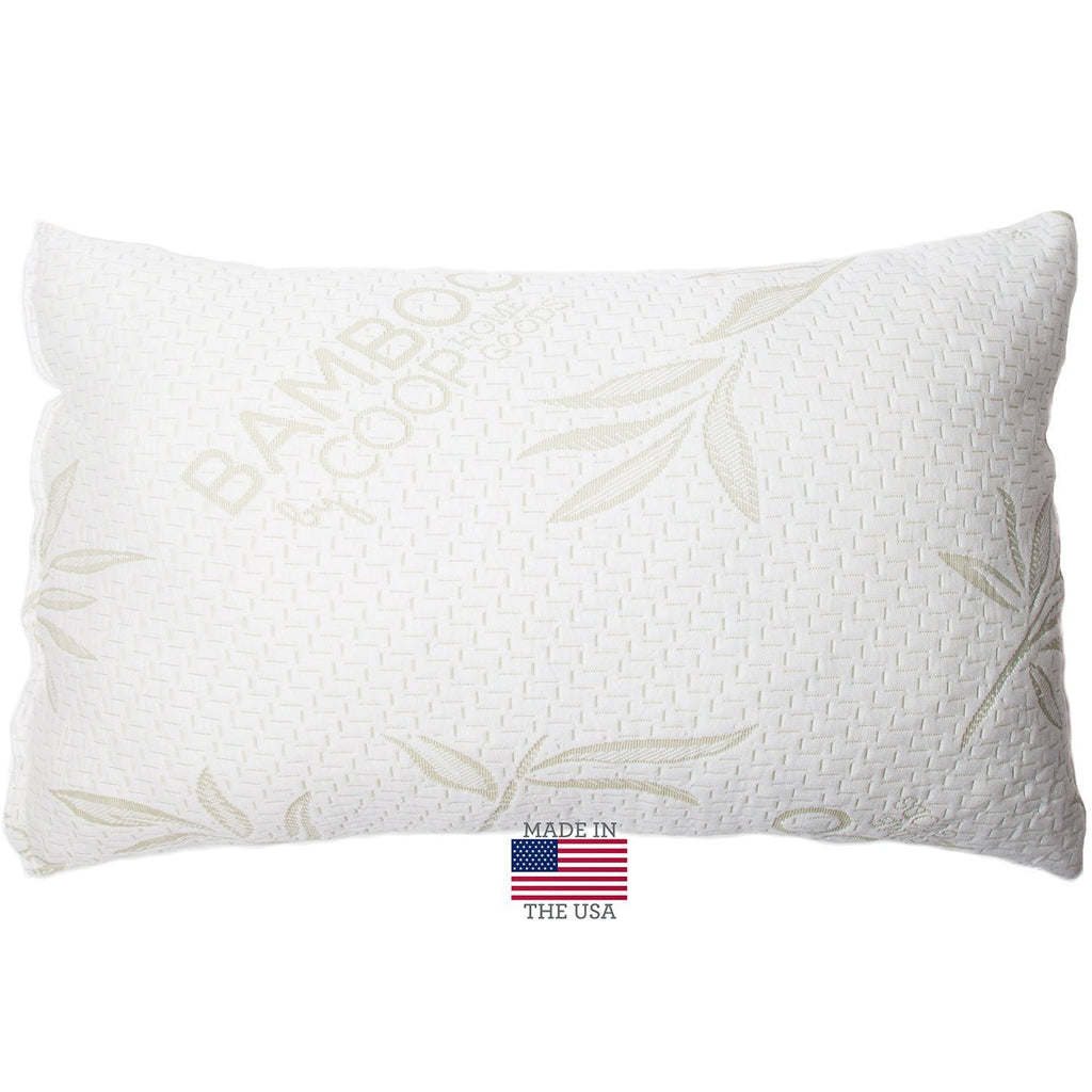 Shredded Memory Foam Pillow with NON-REMOVABLE Cover made from Bamboo Derived Rayon and Polyester Cooling Blend - MADE 100% in USA