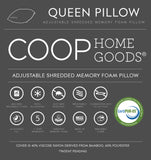 Queen Adjustable Shredded Memory Foam Pillow with Viscose Rayon Cover derived from Bamboo - Removable Case - Coop Home Goods - Made in USA