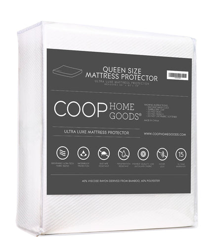 Ultra Luxe Waterproof Mattress Protector - Bamboo Derived Viscose Rayon and Polyester