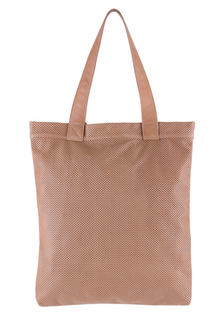 A BEIGE PERFORATED TOTE