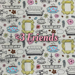 Limited Edition! <3 Friends - Quilter's Cotton - Featuring Light Turquoise Stitching, Yellow Flower Top Snap & Ivory Windpro Back!