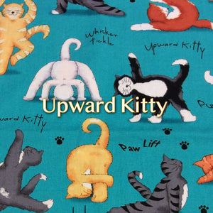 Limited Edition Upward Kitty - Quilter's Cotton Featuring Teal Windpro Back and Flower Top Snap
