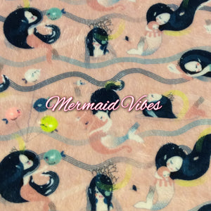 Limited Edition! Mermaid Vibes - Specialty Minky Print Featuring Ivory Back and Ivory Flower Top Snap!