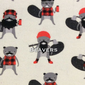 Limited Edition! Beavers - Cotton Flannel - Featuring Black Premium Fleece Back & Heart Top Snap!