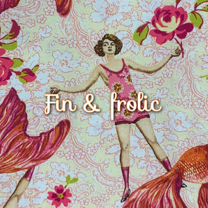 Limited Edition! Fin & Frolic - Quilter's Cotton - Featuring Ivory Back & Magenta Flower Top Snap!
