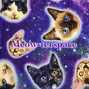Limited Edition! Meow-ter Space- Quilter's Cotton - Featuring Glow in the Dark Snaps!