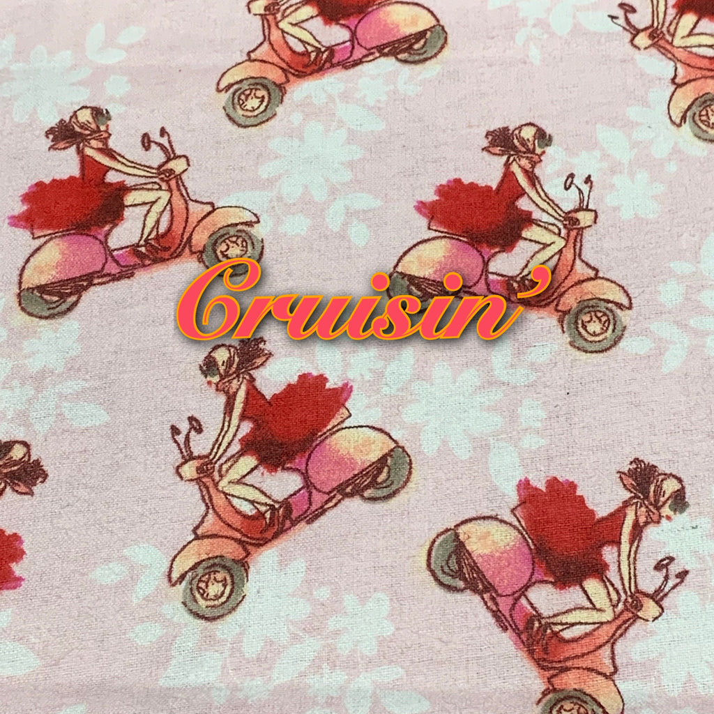 Limited Edition! Cruisin' - Cotton Flannel - Featuring Ivory Premium Fleece Back & Ivory Flower Top Snap!