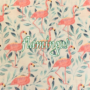 Limited Edition! Flamingo! - Quilter's Cotton - Featuring Ivory Windpro Back & White Flower Top Snap!