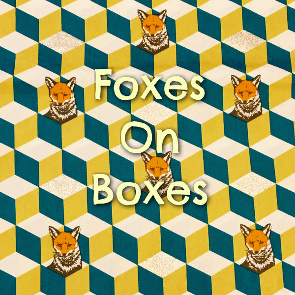 Custom Order - Foxes on Boxes - Quilter's Cotton With Metallic Accents