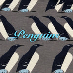Limited Edition! Penguins - Organic Cotton Knit - Featuring Ivory Premium Fleece Back & Light Blue Heart Snap!
