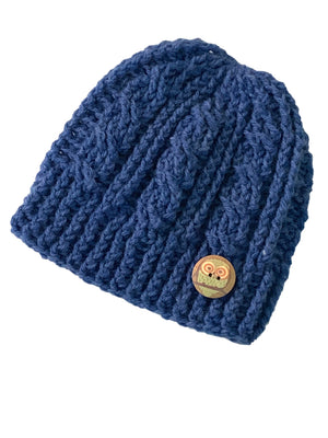 Blue Iris - Crochet Beanie Hat Featuring an Eco Artisan Owl Button Accent