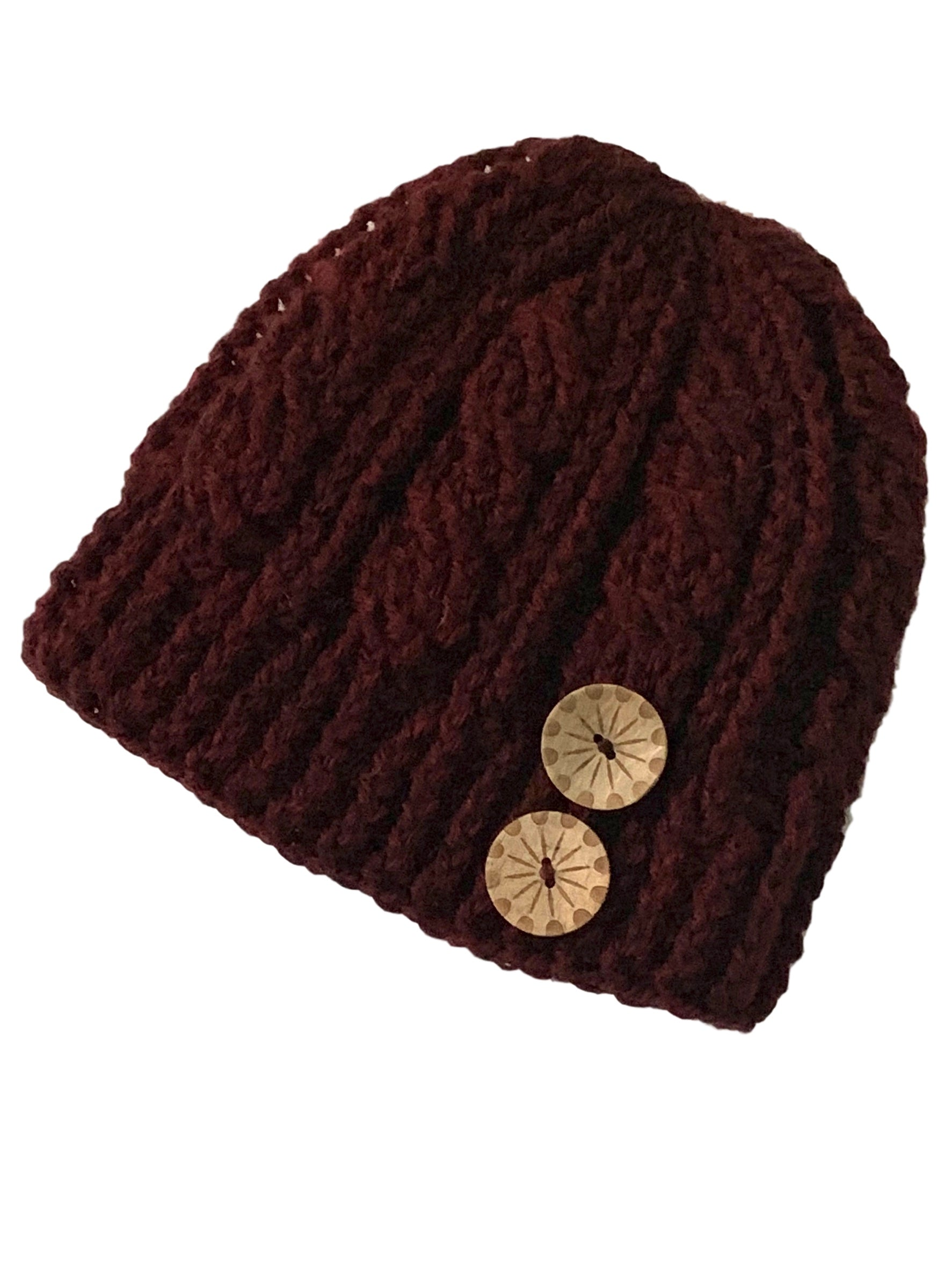 Cabernet - Crochet Beanie Hat with Eco Artisan Button Accent