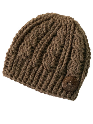 Toasted Oatmeal - Crochet Beanie Hat Featuring an Eco Artisan Coconut Shell Button Accent